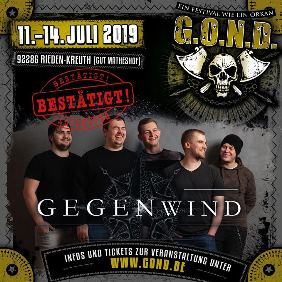 G.O.N.D. Flyer mit Bandbestätigung Gegenwind